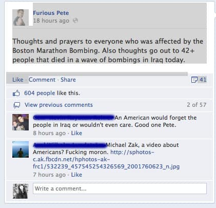 What Furious Pete says about the Boston bombing.