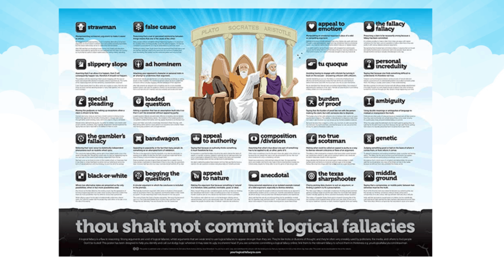 check your sources and arguments for logical fallacies